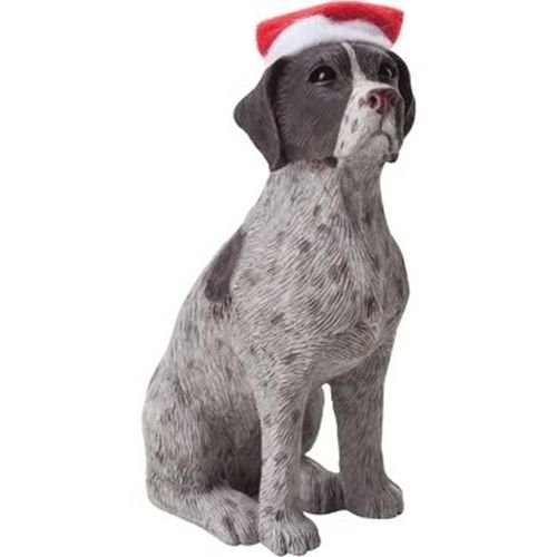 Sandicast German Shorthaired Pointer with Red and White Scarf Christmas Ornament (Shorthaired Pointer Ornaments)