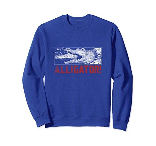 Kids Crocodile Hunter Costume (Unisex Love Alligators Sweatshirt Crewneck Gator Crocodile Fan Medium Royal Blue)