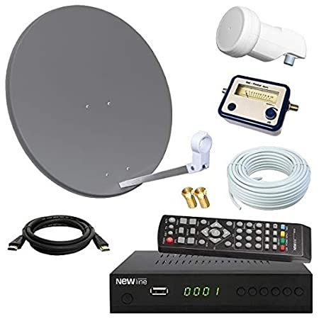 netshop 25 Digital SAT Anlage 60cm + HD Receiver + 10m Kabel + Opticum Single LNB + SAT Finder = HD Komplett Set (3 Farben wä