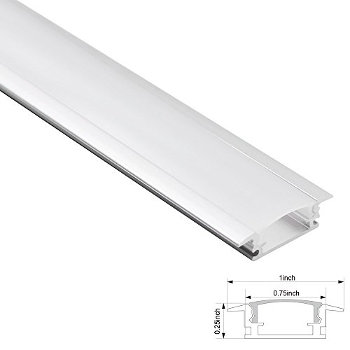 TORCHSTAR 1M/3.3ft Shallow Flush Mount Aluminum Channel U-Shape Aluminum Extrusion for flex/hard LED Strip Lights w/Oyster White Cover, End Caps, Mounting Clips - Emulational Neon Effect - (Shape Oyster)