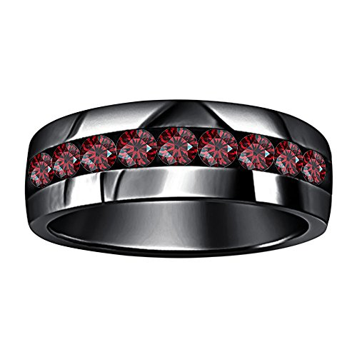 tusakha 14k Black Gold Plated Round Cut Created Red Garnet 9-Stone Men's Wedding Band Anniversary Ring