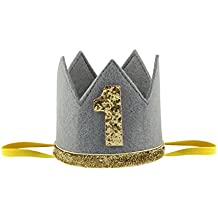 FEESHOW Baby Boy Girls First Birthday Crown Sparkly Party Hat Elastic Headband Prince Cake Smash Photo Prop