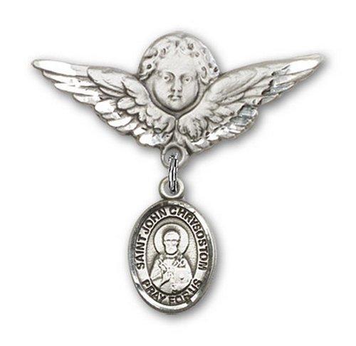 Icecarats Créatrice De Bijoux En Argent Sterling St. John Charme Chrysostome Broche De Badge Angel 1 1/8 X 1 1/8