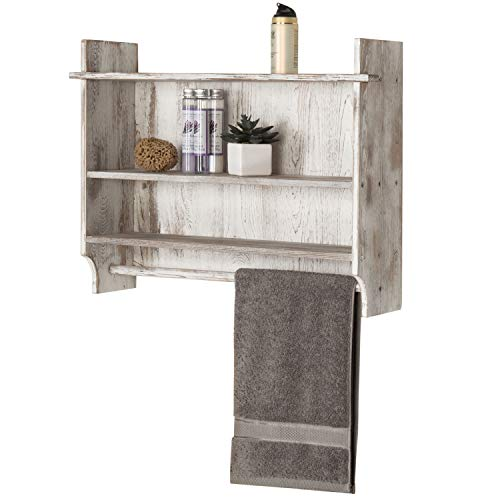 MyGift 3-Shelf Whitewashed Wall Mounted Bathroom Organizer Rack with Towel Bar (Storage Wall Bathroom Units Mounted)