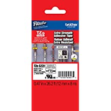 """Brother 1/2"""" (12mm) Black Print on White Extra Strength Adhesive P-touch Tape for Brother PT-1100, PT1100 Label Maker"""