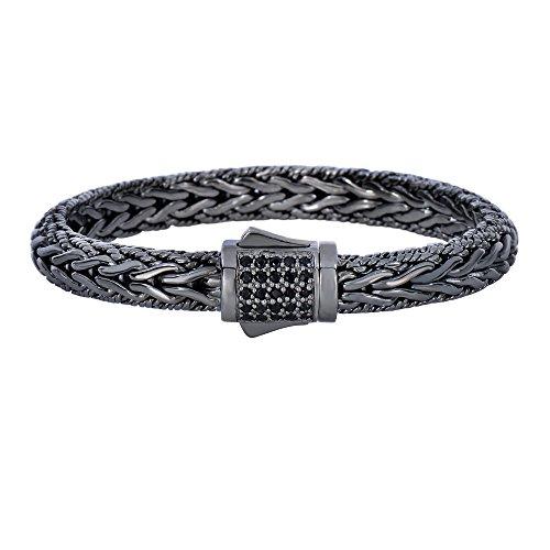 Argent 22,9cm Noir Fini rhodium 7mm en forme de dôme brillant Tissage Bracelet