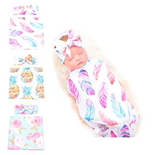 MarJunSep 3 Sets Swaddle Blanket,Baby Girl Gifts, Baby Receiving Blankets and Headbands Set for Newborn Infant Baby Shower