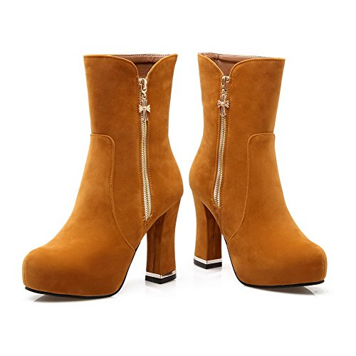 Brown Mid Zipper Solid Top Allhqfashion Heels High Boots Women's wtFqOxP8