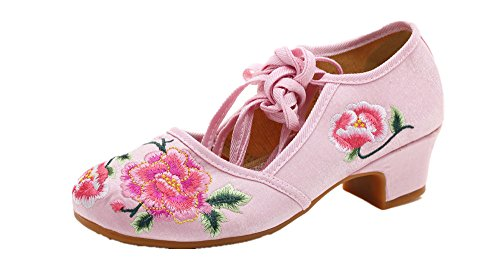 Tianrui Crown Women and Ladies The Peonies Embroidered Sandals Cheongsam Square Heel Shoes (Peony Blend Box)