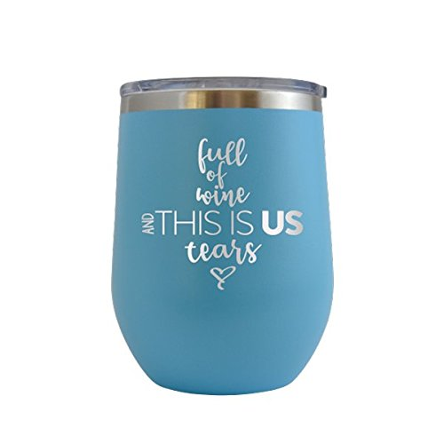 (This is Probably Alcohol - Engraved 12 oz Stemless Wine Tumbler Cup Glass Etched - Funny Birthday Gift Ideas for him, her, mom, dad, husband, wife Wine Hilarious alcohol booze (Baby Blue - 12 oz))