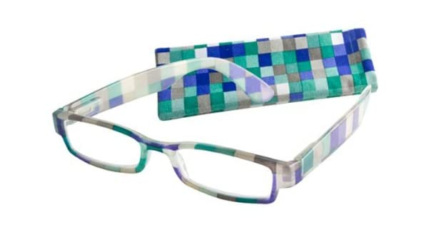 456132a26d8 Amazon.com  ICU Eyewear Reading Glasses Reading Glasses - 7317 Crystal  Checkers Green +2.25  Health   Personal Care
