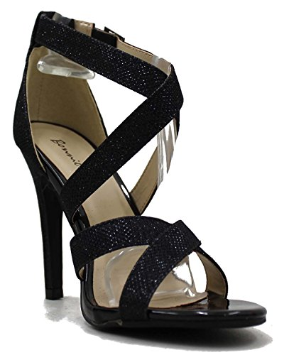 Stiletto Criss Cross Ankle Strap (Bonnibel Women's Lupid Glitter Criss Cross Buckle Ankle Strap Stiletto Dress Sandal Shoes (8.5, Black))