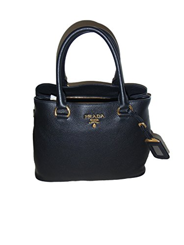 Prada 1BA058 Women's Vitello Phenix Leather Convertible Bag Black