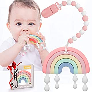 Baby Teether Teething Rainbow Toys for Babies, BPA-Free Infant Toy for 0-24 Months Baby Boys & Girls (Pink)