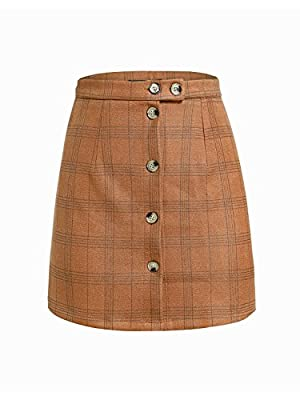 Simplee Women's Plaid High Waist A Line Button Bodycon Mini Skirt