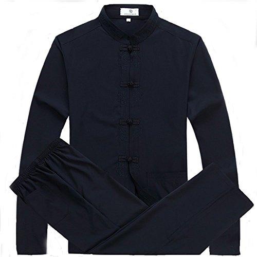 Mens Chinese Traditional Martial Arts Kung Fu Uniform Tang Suit (Dark Blue, - Chinese Pants Kung Clothes Fu