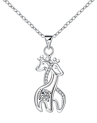 Giraffe Jewelry -Giraffe Pendant Necklace Sterling Silver Plated for Women Crystal Jewelry Gift