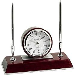 Bey-Berk International Desk Clock with Pen Set