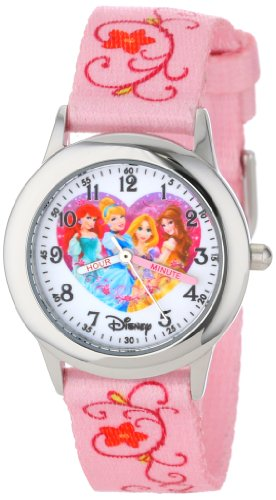 Disney Kids' W000863 Princess Time Teacher Stainless Steel Watch with Pink Nylon Band