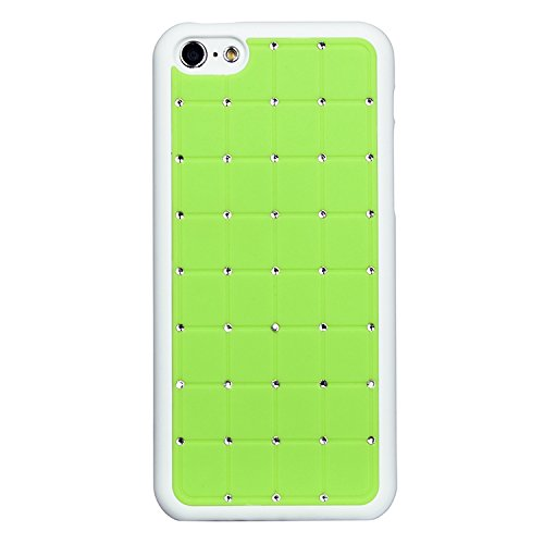Outstanding Value Iphone 5 / 5s CRISTAL DE LUXE Cross Green Diamond Case Hard Cover Bling avec cadre blanc pour Apple iPhone 5 / 5s