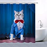 GOOESING Cute Cat Wearing Blue Dance Cloth with Bow Tie Decor Shower Curtain Fun Animal Kitten Pet Picture Stage Show, Waterproof Polyester Fabric Bathroom Accessori Curtains with 12pcs Hooks
