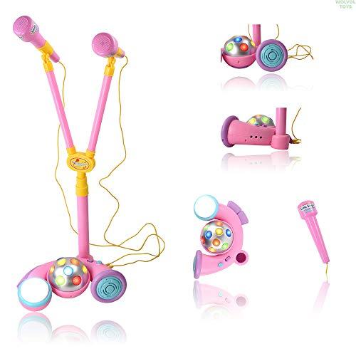 WolVol Dual Microphone Singing Duo - Functional Pretend Karaoke Music Toy for Boys & Girls (Pink)
