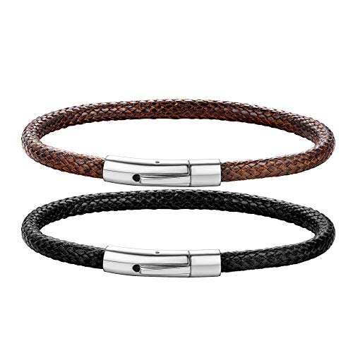 - ChainsHouse Stainless Steel Brown Braided Rope Leather Bracelet for Men Women Wrist Cuff Bracelet, 7.0 inches