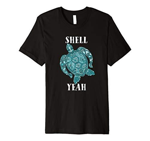 Surf Sea Turtle Shell Yeah Turquoise Light Blue Surf  Premium T-Shirt ()