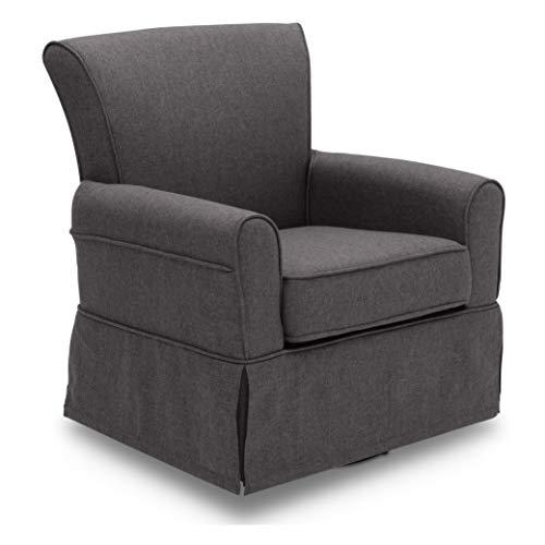 Delta Children Upholstered Glider Swivel Rocker Chair, Charcoal