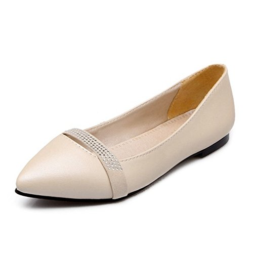 Toe Women 13 Slip Beige Pointy 1 US Size Smilice with Rhinestones on Comfortable and Dressy Flats Pumps 0w6qdwC