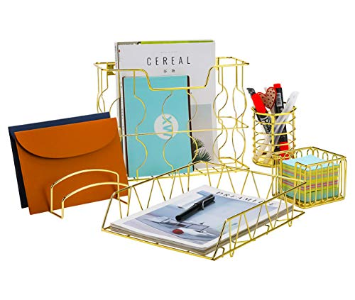 PAG Office Supplies 5 in 1 Metal Desk Organizer Set - Hanging File Organizer, File Tray, Letter Sorter, Pencil Holder and Stick Note Holder (Gold) -