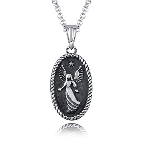 JXJL Sterling Silver Memorial Jewelry Guardian Angel Urn Neckace Oval Pendant Cremation Ashes Holder-no Longer by My Side Forever in My Heart ()