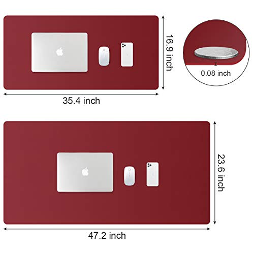 PUPUFU Large Leather Desk Pad - Dual Sided Office Desk Mat - 47.2''x23.6'' Extra Big Mouse Keyboard Pad Waterproof Mousepad Desk Cover Writing Pad for Office and Home(Black/Dark Red)