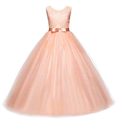 Yaphyee Flower Girls Sleeveless Long Pageant Dresses Maxi Lace Gown Kids Formal Wedding Bridesmaid Princess Dress Big Girls Summer First Communion Party Prom Puffy Tulle Skirt Pink Size 5-6 Years for $<!--$24.36-->