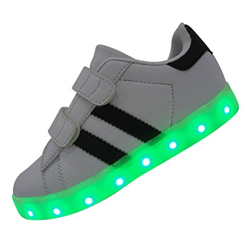 Price comparison product image DAYOUT 7 Colors Rechargable Stripes Designs Boys LED Light Shoes Kids Girls LED Sneakers (US 1/EU 32, White)