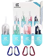 Straws Reusable Silicone Collapsible Flexible Drinking Straws 4 Color Pack 20CM Straw with Case and Cleaning Brushes Food Grade Silicone PDA Approved BPA Free for Travel Home Office