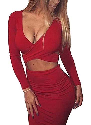 Memorose Womens Sexy Long Sleeve Cut-Out Bandage Bodycon Clubwear Midi Dress Red M