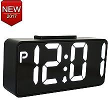 Jumbo Digital LED Alarm Clock Large Alarm Clock ,Hi/Lo Alarm Switch,Snooze Bedside Night Table Clock with Dual USB Ports,Black Case White LED