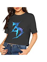 B. Bone Women's Sexy Short Sleeve T Shirt Zeds Dead 3 Printed Crop Top Soft