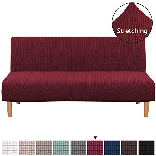 Armless Futon Cover Stretch Sofa Bed Slipcover Protector Elastic Feature Rich Textured Lycra High Spandex Small Checks Jacquard Fabric Sofa Shield Futon Cover, Machine Washable, Burgundy Red