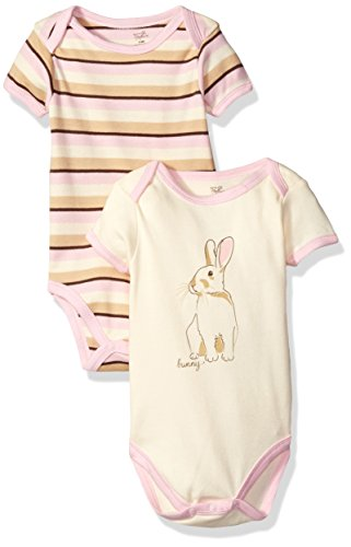 Touched by Nature 2-Pack Organic Cotton Bodysuits, Light Pink/Bunny, 0-3 Months