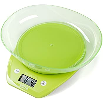 Attractive HULLR Multifunction Digital Kitchen Food Scale With Bowl 11Lb 5Kg  (Batteries Included) (Green