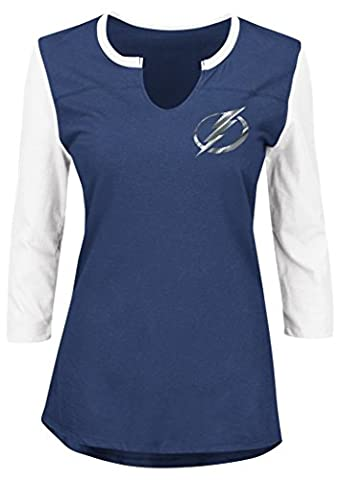 NHL Tampa Bay Lightning Glowing Passion 3/4 Sleeve Notch Neck Tee, XX-Large, Navy
