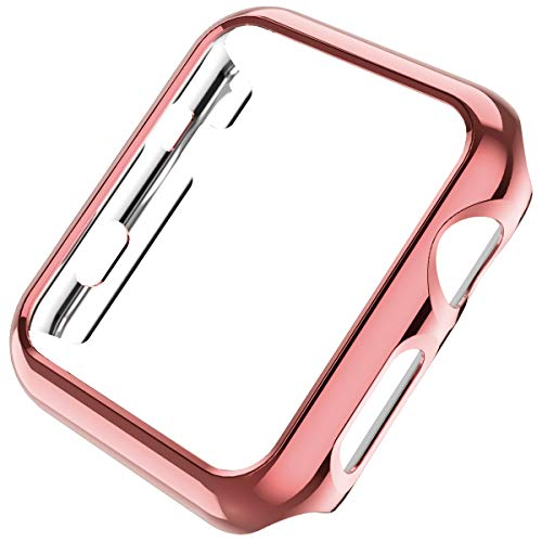 Leotop Compatible with Apple Watch Case 44mm 40mm, Super Thin PC Plated Bumper Protector Shiny Cover Lightweight Slim Shell Shockproof Frame Accessories Compatible iWatch Series 4 (Rose Gold, 40mm)
