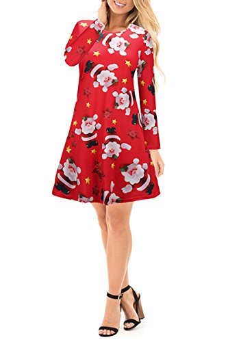 YMING Girls Christmas Swing Dress Long Sleeve Santa Snowflake Colourful Special Novelty - Uk Day Sale One