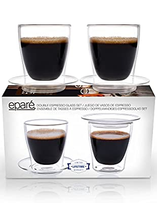 Eparé Espresso Cups, Insulated Glass Demitasse Lid & Saucer Set (4 oz, 120 ml) – Double Wall Thermal Tumbler Cup – Mug for Drinking Tea, Latte, Lungo, or Cappuccino – 2 Glasses