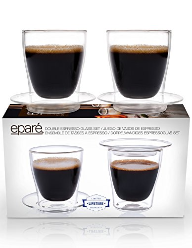 Optical Crystal Wine Glass - Eparé Espresso Cups, Insulated Glass Demitasse Lid & Saucer Set (4 oz, 120 ml) – Double Wall Thermal Tumbler Cup – Mug for Drinking Tea, Latte, Lungo, or Cappuccino – 2 Glasses