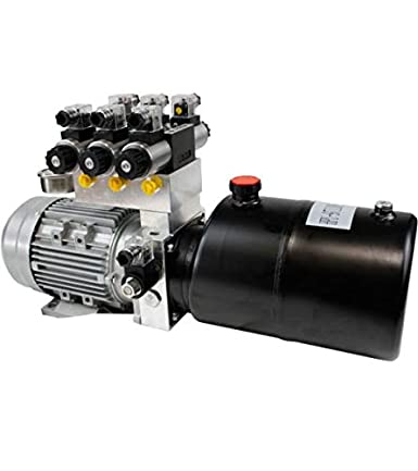 Generador hidráulico, 1,5 kW, 230 V, depósito redondo de 8 litros (acero), bomba de rueda dentada de 3,2 cm3/U, para 3 consumidores de doble efecto.