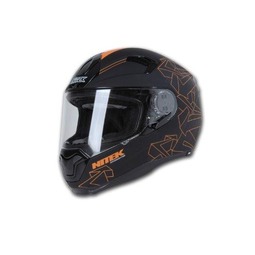Nitek Interceptor - Casco integral de fibra de vidrio, cruiser-motocicletas, Anaranjado (Orange Arrow), XX-Large