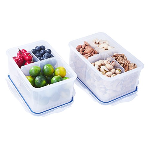 1150 Dry Box - 4 Pack Bento Lunch Box with 3 & 4 Compartments, Portion Control Meal Prep Container, Airtight BPA Free Plastic Food Storage Container with Locking Lids, 1200ml/40.6oz & 1150ml/38.9oz